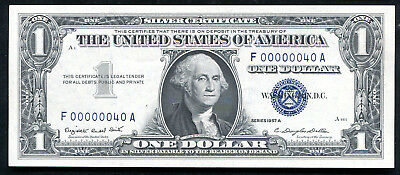 "1957-A $1 One Dollar Silver Certificate ""Low Serial # F00000040A"" Gem Unc"
