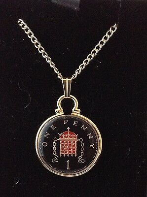 1996 Enamelled 1p Coin Pendant. Black/gold/red. 21st Birthday/Anniversary