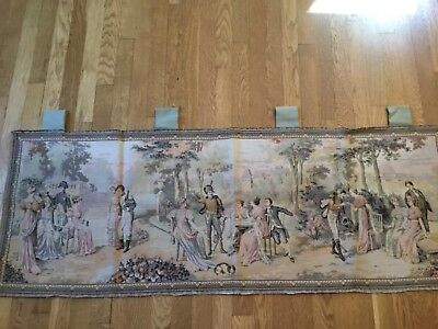 Antique Tapestry Garden Scene Royalty Military Courting-Custom made to Hang-Chic