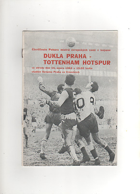 DUKLA PRAGUE v TOTTENHAM HOTSPUR  EUROPEAN CUP WINNERS CUP 14th February 1962
