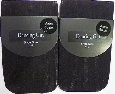 Dancing Girl 2 pairs of Striped Fashion Ankle Socks in Black and foot size 4-7