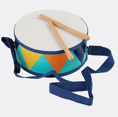 NEW Toy Wooden Marching Drum with Baton Double Sided Kids Musical Instrument