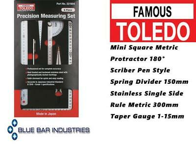 Toledo Precision Measuring 6pc Set Stainless Steel Photographically Etched
