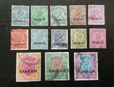 Bahrain, 1933 George V, Sc 1-10, 12-14, used, VF, very rare set.