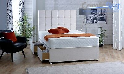 Chenille Fabric Divan Bed Set With Mattress And Button Headboard - Made In Uk