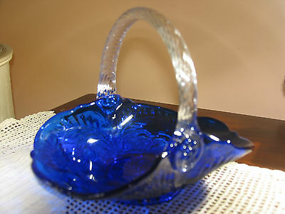 Mosser Glass Cambridge Ohio USA - Cobalt Blue  Thistle Pattern Berry Basket