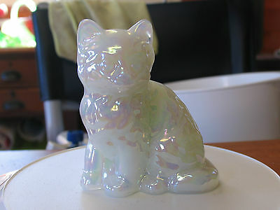 White Carnival Glass Cat