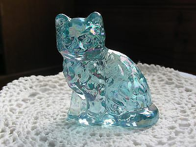 Aqua Blue Carnival Glass Cat