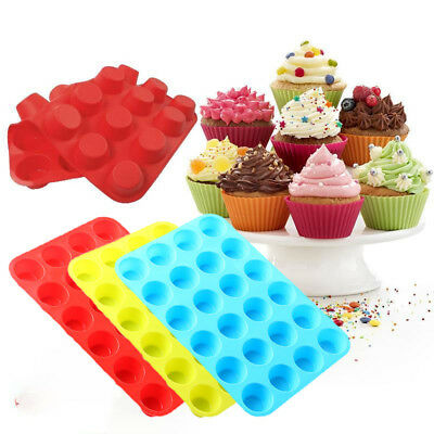 24 Cavity Mini Muffin Silicone Soap Chocolate Cookies Cupcake Bakeware Mould