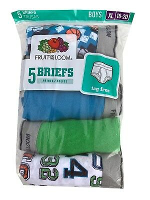 """Fruit of the Loom BOYS' 5 PACK PRINT/SOLID FASHION BRIEF """" Cotton""""       5P46BPS"""