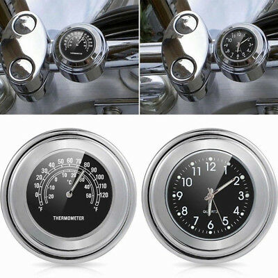 7/8'' 1'' Motorcycle Bike Handlebar Mount Dial Clock Thermometer Temp Waterproof