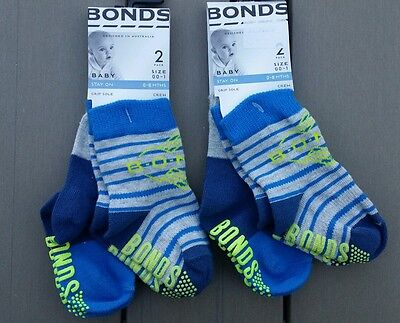 2 x NEW BONDS 2 Pack Baby Grip Sole Blue Stripe Crew Socks - 0 - 6 months