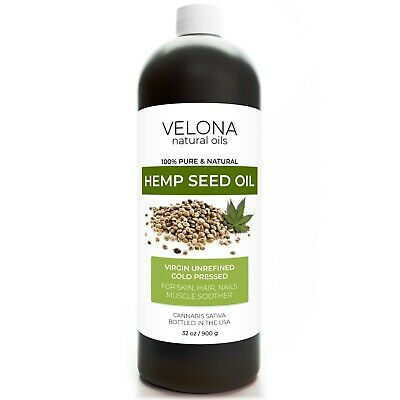 Hemp Seed Oil 32 oz UNREFINED ORGANIC CARRIER VIRGIN Cold Pressed RAW PURE