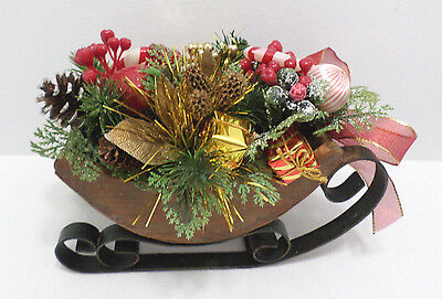 Vintage Wooden Christmas Sleigh with black iron runners Table Centerpiece