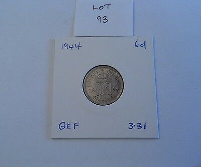 1944 George VI silver sixpence, good EF, (Lot 93).