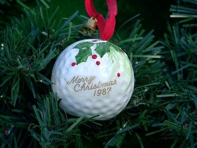 1987 Merry Christmas Golf Ball Christmas Tree Ornament Porcelain w Holly Berries