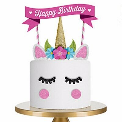 1Set Cute Unicorn Cake Topper Happy Birthday Candle Party Toppers Supplies Decor