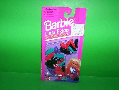 Barbie Doll LITTLE EXTRAS So Many Shoes 12 Pairs Flats Heels Tennis Sandals NIP