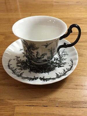 Rooster Tea Cup and Saucer Black and White