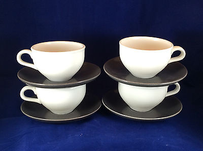 Russel Wright Iroquois China – set of 4 charcoal gray saucers / white cups