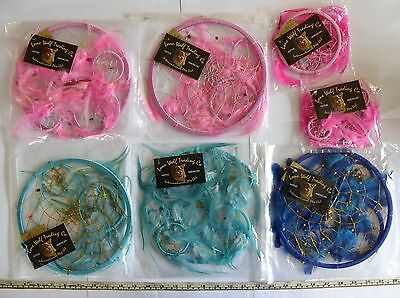 Bulk Lot. 7 Dream Catchers. Lone Wolf Feather & Beads.5 Large 2 Small. Pink Blue