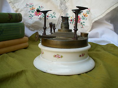 1800s Marque Depose Antique Plate Warmer Old Porcelain Brass Oil Kerosene Floral