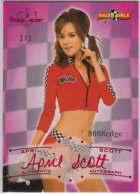 2011 Benchwarmer Vault Auto: April Scott #1/1 Of Racer Girl Red Foil Autograph