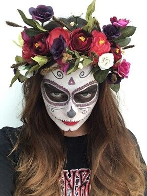 Red Halloween Day Of The Dead Flower Headband Large Boho Crown 1 UK Fast Post