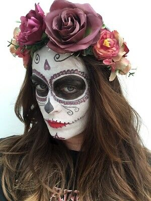 Red Halloween Day Of The Dead Flower Headband Large Boho Crown 2 UK Fast Post