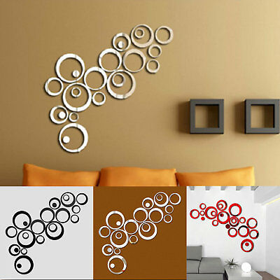 3D Mirror Circle Decal Wall Sticker DIY Self-Adhesive Art Mural Home Room Decor