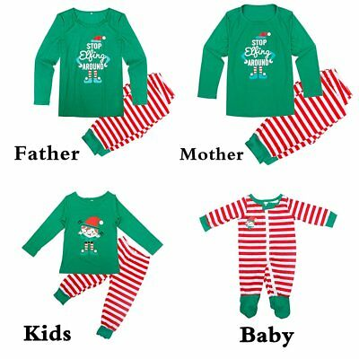 Family Christmas Matching Pajamas Set Adult Kids Baby Elf Sleepwear Nightwear Pj