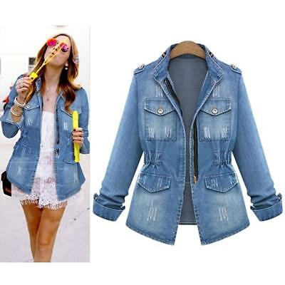 New Vintage Long Sleeve Jean Coat Womens Slim Denim Short Casual Jacket B