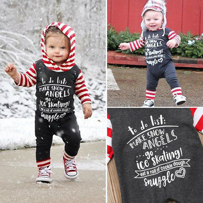 Christmas Baby Girls Boys Long Sleeve Hoodies Romper Outfits Clothes US Stock