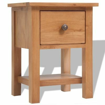 B#vidaXL Solid Oak Nightstand Bedside Lamp Light Table Unit Cabinet 1 Drawer Bro