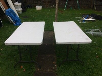 Two Folding Trestle Tables