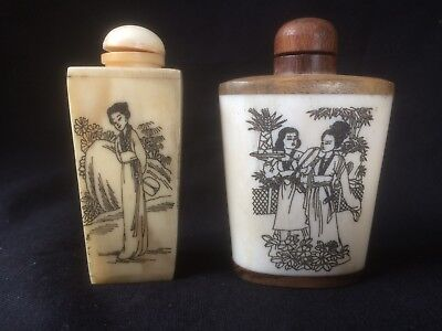 PAIR OF SUPERB 19 c. CARVED CHINESE ANTIQUE BONE SNUFF BOTTLE 古董鼻烟壶