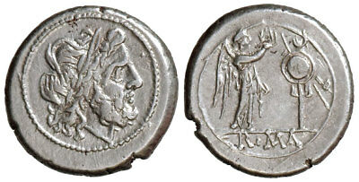 A- Rome, Anonymous (after 211 BC), AR Victoriatus,002