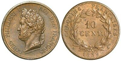 France Colonies, 10 Cents 1839 A (Paris), for use in Guadalupe