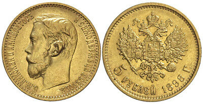 Russia, Nicholas II, 5 Roubles 1898, Gold, 004