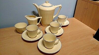 Lovely Crown Devon Art Deco Part Coffee Set With Hand Painted Detail. Good Cond.