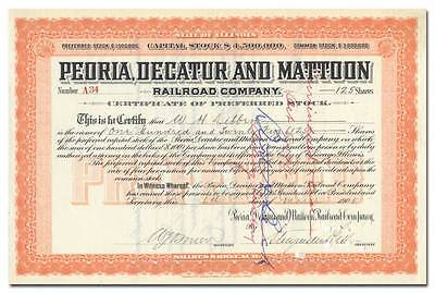 Peoria, Decatur and Mattoon RR Co Stock Certificate Signed by Stuyvesant Fish