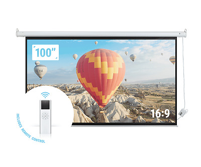 "Homegear 100"" 16:9 HD/3D Electric Motorised Projector Screen + Remote Control"