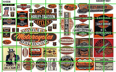 NH006 1/2 Set N SCALE VINTAGE AMERICAN MOTORCYCLE BUILDING SIGNAGE DAVE'S DECALS
