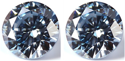 2 SAPPHIRE 12.00 mm. EACH AQUA LIGHT BLUE DIAMOND-SPARKLING LOOSE HARDNESS 9