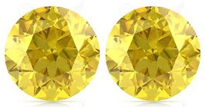 2 SAPPHIRES CANARY YELLOW 12.00 mm. EACH LOOSE PAIR DIAMOND-SPARKLING HARDNESS 9