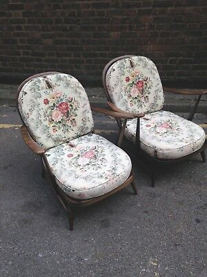 Matching Pair of Ercol Windsor 252 Easy Armchairs Mid Century Vintage 50s 60s