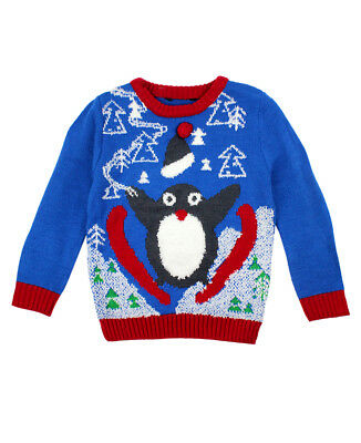 Baby Toddler Boys Ex Store Penguin Fun Christmas Jumpers - Xmas Jumper