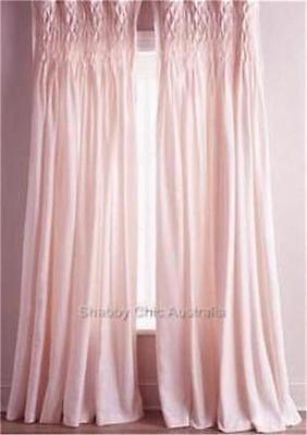 Shabby French Country Curtains Drapes 2 Pink Hamptons Smocked Panels Chic New