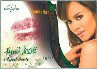 2010 Benchwarmer Ultimate Lip Kiss Auto: April Scott #10/10 Green Autograph