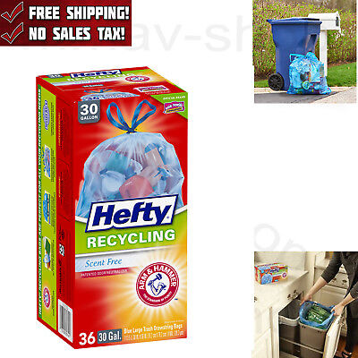 Hefty Recycling Trash Bags Clear Drawstring 30 Gallon 36 Count